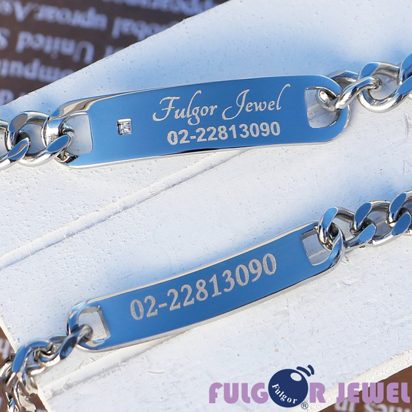 【Fulgor Jewel】不鏽鋼 客製化 防走失 老人愛心手鍊 單鑽款 免費雕刻(正反兩面都可以雕刻)