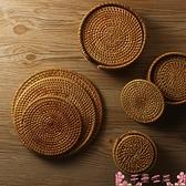 餐墊手工藤編茶壺墊杯墊托編織茶道創意餐墊餐桌墊碗墊盤子墊隔熱墊子 芊墨