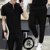 大碼運動套裝 男裝新款5XL短袖棉麻兩件式薄款短袖 DR20913【男人與流行】