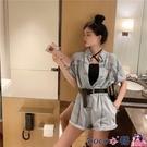 熱賣連體褲 連衣褲女牛仔2021年夏季新款時尚韓版高腰顯瘦直筒闊腿連體短褲潮 coco
