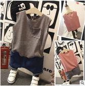 兒童上衣 童裝2019夏季韓版新款男童純色裁剪無袖T恤兒童口袋背心上衣1264