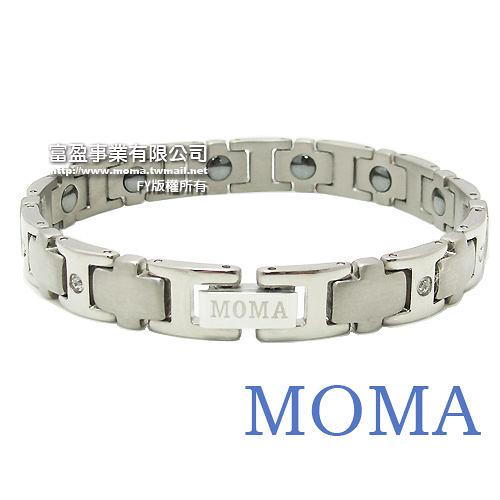 【MOMA】純鈦鍺磁手鍊-TB-01L 窄版 (鑲鑽版)