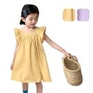 女童洋裝 韓版飛袖連身裙素色花邊袖 甜美背心裙 88702