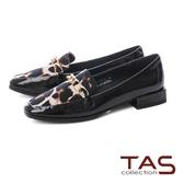 TAS 異材質拼接豹紋樂福鞋-注目黑