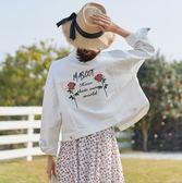 牛仔外套 韓版白色繡花短版長袖寬鬆外套 S-L #sd921583 ❤卡樂❤
