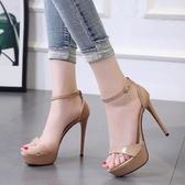 高跟涼鞋高跟鞋女細跟夏季新款女涼鞋防水台超高跟12CM時尚露趾女鞋  【快速出貨】