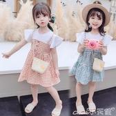 短袖連身裙女童夏裝假兩件格子連身裙小童寶寶夏季公主裙3歲5兒童裝短袖裙子 小天使