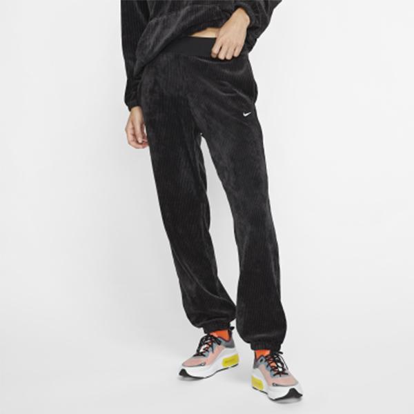 C-NIKE NSW Velour Trousers 黑 白 女款 燈心絨 運動休閒 長褲 BV4472-010