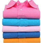純棉純色翻領短袖男女款polo衫寬鬆運動t恤班服工作服「韓風物語」