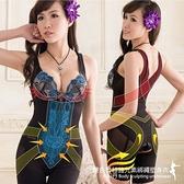 塑身衣 美型雙色蕾絲鍺元素綁繩提托機能雕塑束身衣/S-XXL(黑色)-伊黛爾