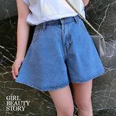 SISI【P7043】韓版顯瘦復古風寬鬆高腰半身牛仔褲裙單寧短褲丹寧褲裙