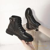 短靴女秋冬黑色厚底英倫風馬丁靴加絨百搭機車靴子【繁星小鎮】