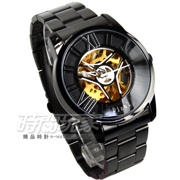 Dinal 羅馬數字時刻鏤空時尚機械腕錶 不銹鋼男錶 防水手錶 IP黑電鍍 D2038-2槍黑