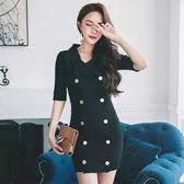 洋裝-短袖純色翻領雙排扣針織女連身裙2色73pu90[巴黎精品]