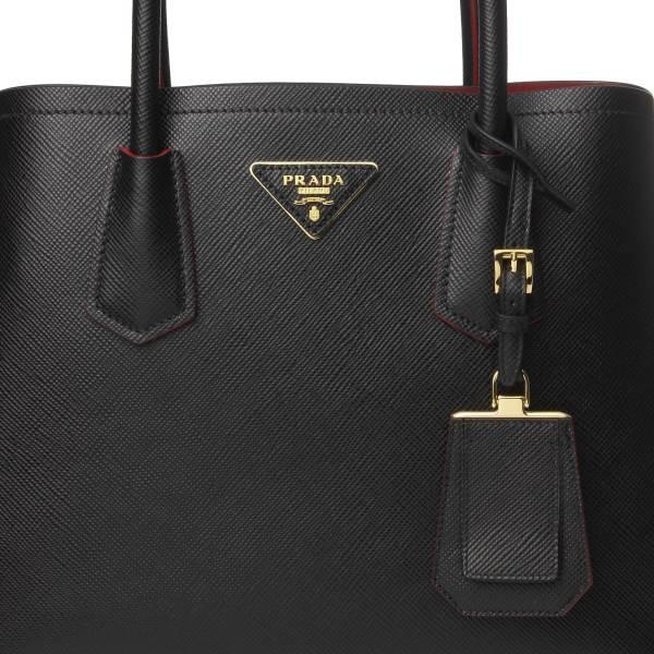 ■專櫃66折■Prada 普拉達 全新真品 1BG887 Saffiano Double 耐刮皮革2用包 黑色
