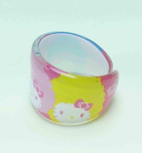 【震撼精品百貨】Hello Kitty 凱蒂貓~塑膠戒指-藍粉黃