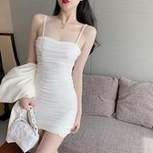 裙子女夏裝2021新款夏性感修身褶皺洋裝白色夏季包臀吊帶裙西裝