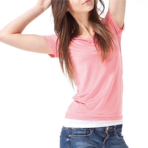 《MORINO摩力諾》機能休閒抗UV速乾女短袖衫-粉色