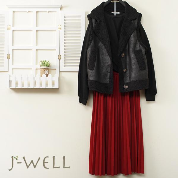 J-WELL 暖毛G皮背心下擺扭結短版棉T壓褶裙三件組(組合B033 9J1160黑+9J1089黑+9J1094紅)