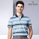 Emilio Valentino 多層次絲光棉橫條紋POLO衫 - 藍/綠