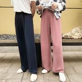 直簡褲  2018夏季薄款拖地長褲女銅氨絲寬鬆高腰闊腿褲大碼直筒顯瘦休閒褲  蒂小屋服飾