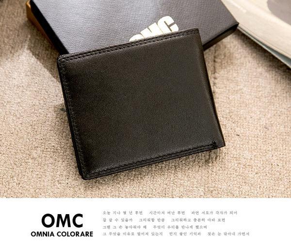 OMC - 韓系柔軟牛皮款真皮7卡3照可拆左右翻短夾
