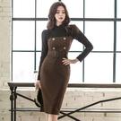 歐媛韓版 長袖洋裝 冬季新款女神範氣質修身拼接蕾絲顯瘦性感包臀打底連身裙