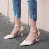 女高跟涼鞋 韓版女鞋子 時尚水晶跟包頭涼鞋外穿夏中空一字帶尖頭水鑽細跟涼鞋《小師妹》sm4246