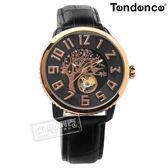 Tendence 天勢表 / TY492001 / 機械錶 自動上鍊 珍珠母貝 寧靜森林 防水100米 真皮手錶 黑x玫瑰金框 46mm