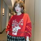 針織毛衣 重工釘珠鑲鑽小鹿圣誕燈籠袖寬鬆圓領毛衣 依多多