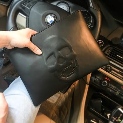 潮流新款歐美復古男包   2019骷髏時尚手拿包    休閑個性鬼頭信封包   簡約大容量手抓包
