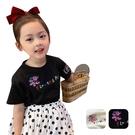 女童短袖上衣 圓領刺繡寬鬆上衣韓版短袖T恤 復古刺繡上衣 88701