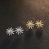 耳環 925純銀鑲鑽銀飾-創意太陽生日情人節禮物女飾品2色73dy175【時尚巴黎】