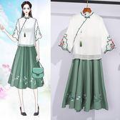 改良漢服 套裝裙 女唐裝復古民國風旗袍中國風夏裝古風日常中式 JA6250『毛菇小象』