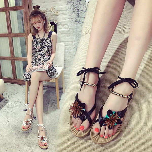韓版涼鞋羅馬平底波西米亞綁帶簡約夾趾花朵沙灘女鞋
