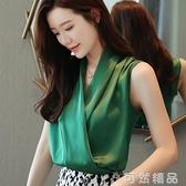 韓版V領無袖緞面襯衫女士夏裝新款百搭網紅流行雪紡氣質上衣 雙12全館免運