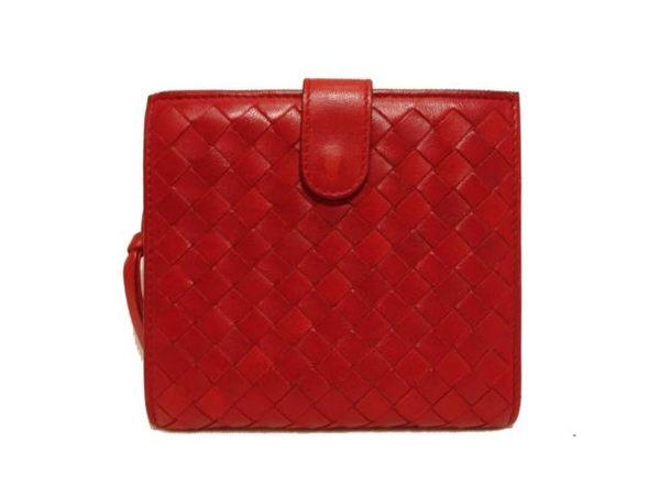 BOTTEGA VENETA 紅色羊皮編織紋中夾 132355【BRAND OFF】