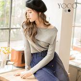 東京著衣【YOCO】知性美人一字領翻片針織上衣-S.M.L(171979)