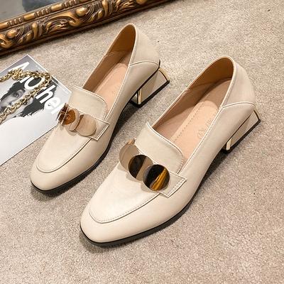 英倫風小皮鞋女秋季2020新款中跟復古粗跟高跟黑色單鞋軟皮樂福鞋 【雙十一狂歡購】