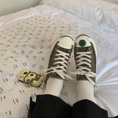 帆布鞋2019春季韓國ulzzang橄欖綠開口笑ins百搭帆布鞋女情侶男 雲朵走走
