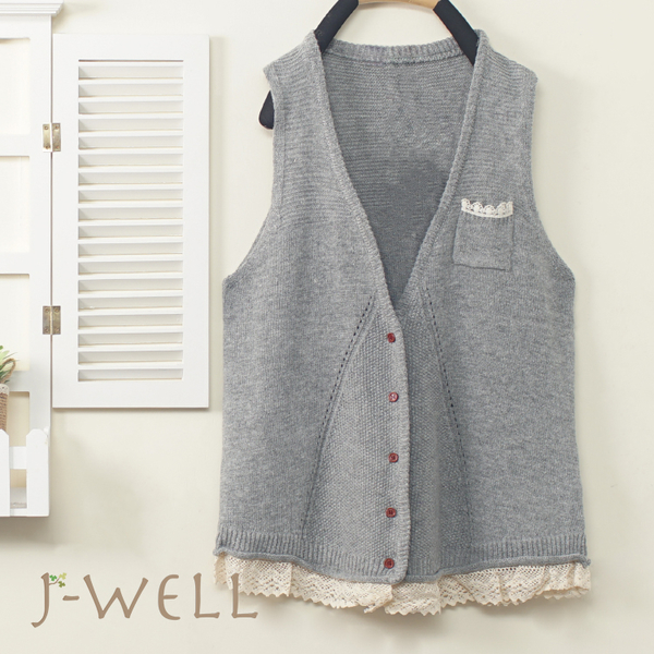 J-WELL 森女下擺蕾絲毛線背心(4色) 9J1100