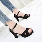 高跟凉鞋 涼鞋女2021年夏季新款6-8CM粗跟防水臺百搭一字式扣帶黑色高跟鞋