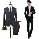 商務休閒正裝西服套裝兩件套男韓版青年修身款職業上班小西裝外套    韓小姐