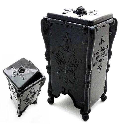 Kiret 收納盒 化妝棉 古典黑蝴蝶抽取化妝棉收納盒(四色)【A037-BK】