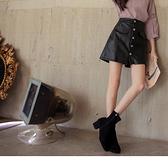 《BA5881》質感皮革排釦口袋褲裙 OrangeBear
