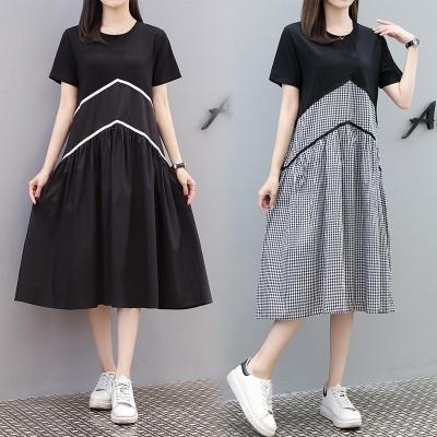 M4XL胖妹妹大碼洋裝連身裙~大碼女裝歐洲站拼接格子胖MM大碼T恤連身裙4F101莎菲娜