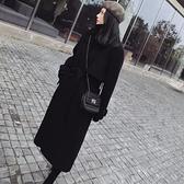 毛呢外套-長版黑色修身繫帶秋冬女大衣73wd24[巴黎精品]