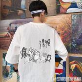 夏季ulzzang半袖男士上衣棉麻韓版寬鬆潮流短袖T恤原宿風印花學生  印象家品旗艦店