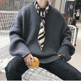萬聖節快速出貨-秋季慵懶風毛衣男韓版潮流純色寬松圓領針織衫男士ins線衫線衣