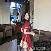 撲啦啦韓風Chic圓領修身顯瘦短袖流蘇洋裝 百搭套頭針織A字短裙     米娜小鋪